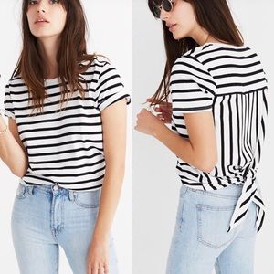 Madewell | Striped Tie-Back Knot Cotton Tee